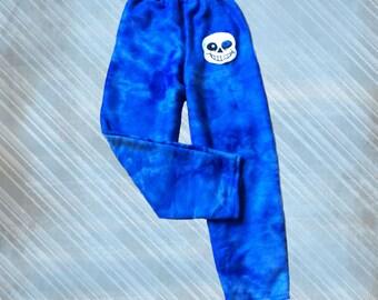 Undertale Sans Pajama Pants Blue TieDye Fleece Child or Adult