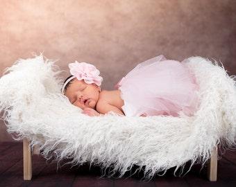 Light pink headband and tutu-baby headband- headband and tutu-flower headband- Newborn first pictures- newborn photo prop