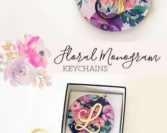 Floral Keychain Monogram Gift for Her Bridesmaid Keychain Inexpensive Bridesmaid Gift Ideas Personalized Bridesmaid Gift (EB3185)