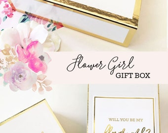 Flower Girl Proposal Box Flower Girl Basket Will You Be My Flower Girl Gift Ideas Flower Girl Gift Set Box (EB3171BPW) EMPTY inside