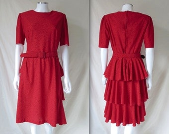 Vintage 80s Red Belted Ruffle Dress with Black Speckles T Fe