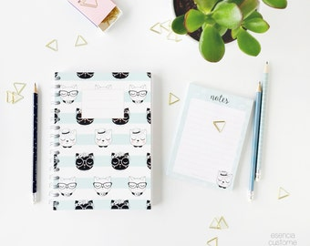 Gift set Notebook and note pad Miau, cats notebook, stationery