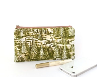 Trees pencil case, Forest pencil pouch, Hiker gift, Green travel pouch, Small zipper pouch, Nature lover gift, Zipper pouch mountain, Wallet