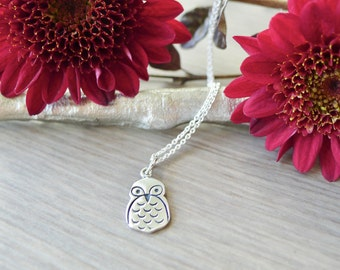 Sterling Silver Owl Necklace, Snowy Owl, Barn Owl, Spotted Owl Necklace, Large Owl Necklace, Cute Owl, Modern Owl, Simple Owl Necklace