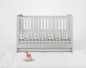 Bear in Gold Blue Bedding Set. Baby Bedding. Bear Baby Bedding. Bear Crib Sheet. 2 Piece Set - Fitted Crib Sheet, Crib Skirt.