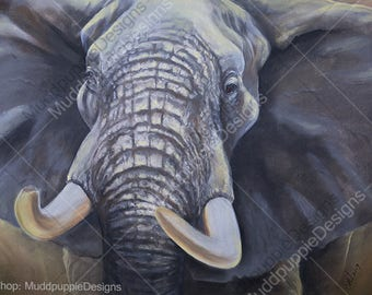 Elephant Bull Close up ILLUSTRATION  wildlife portraits wall art African desert Ellie Etosha conservation blue grey brown nature lovers