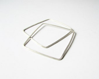 Square Bangles, Geometric Bracelets, Set of Two Bangles, Silver Stacking Bracelets, Skinny Women Jewelry