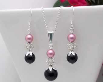 Bridesmaid Jewelry set • Pink & Black earrings • Silver earrings • Necklace and earrings set • Bridesmaid earrings •