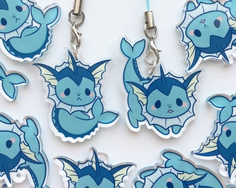 "Cute Chubby Vaporeon Eevee Eeveelution Kawaii Water Pokemon 1.5"" Acrylic Clear Charm"