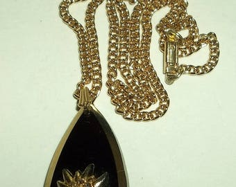 Vintage Black & Gold TEARDROP Pendant Necklace Marked Germany