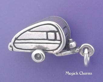 Teardrop CAMPER Charm .925 Sterling Silver, Travel Trailer, Hitch, Caravan Pendant - d43721