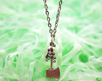 Skull Ax Necklace, Skull Necklace, Skull Choker, Horror Jewelry Pastel Goth Clothing Horror Necklace Statement Necklace Pastel Grunge Choker