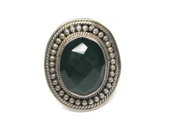 Vintage Sterling Faceted Green Onyx Ring Size 8