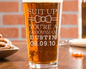 Groomsmen Proposal, Best Man Proposal, Etched Beer Glass, Beer Mug Gift, Bar Glass, Monogram Beer Glass, Wedding Party Gift, Beer Lover