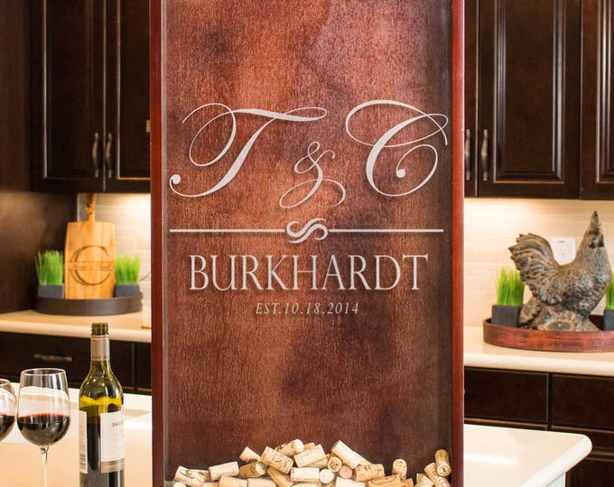 Wine cork shadow box wedding