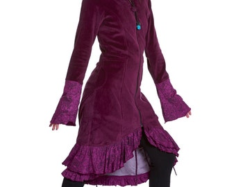 PURPLE VELVET COAT, long velvet coat, elegant steampunk jacket, corset coat, bohemian coat, hippie hippy velvet jacket, gothic purple jacket