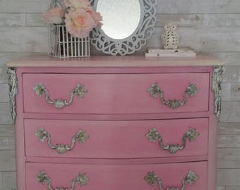 French Provincial Pink Girly Dresser, Chest Of Drawer, Nursery Room Dresser 1960's