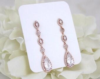 Rose Gold earrings, Long Wedding earrings, Bridal earrings, Bridal jewelry, Teardrop earrings, Bridesmaid earrings, Cubic zirconia jewelry