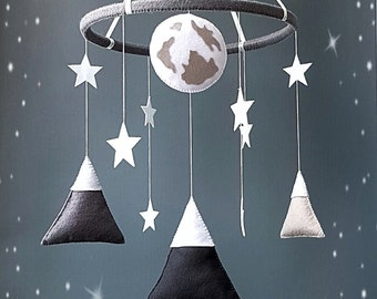 Mountains baby mobile Grey white crib mobile nursery decor Felt mobile Cot mobile Hanging crib mobile Boy mobile Girl mobile New baby gift