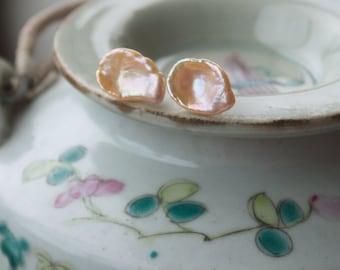 Blush bridal earrings, Baroque pearl earrings, Keshi pearl earrings, Pink pearl jewelry, Pretty earrings, Unique pearl, Modern pearl jewelry