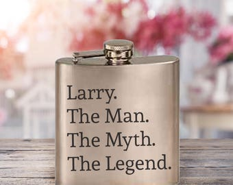 Flask/The Man/The Myth/The Legend/Father's Day Gift/Dad/Established Date/Red/Blue/Black