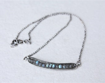 Labradorite bar necklace, sterling silver labradorite necklace, oxidized silver necklace, gemstone bar necklace, labradorite jewelry