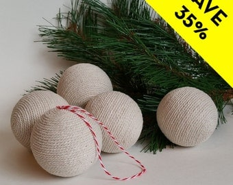 Cotton Twine Wrapped Christmas Ball Ornaments - Set of Five