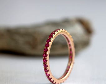 Ruby ring Rose Gold, eternity ring, Natural Ruby ring, July birthstone, Dainty stacking ring