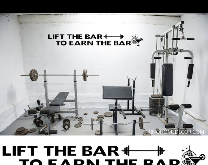 """Vinyl Decal MOTIVATION WALL QUOTES """" lift the bar to earn the bar """" wall decal wall sticker workout fitness gym dumbbell crossfit"""