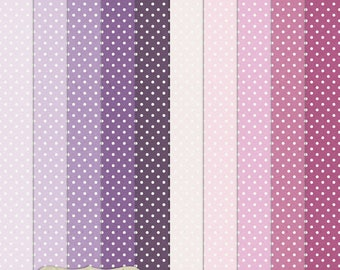 """Digital Printable Scrapbook Craft Paper - Dotty in Purple Shades - Polka Dots Spots Lilac Violet Lavender - 12 x 12"""" - PU/CU Commercial Use"""