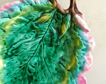 "12"" Etruscan Majolica Oak Leaf Plate, Griffen Smith & Hill Majolica Platter"