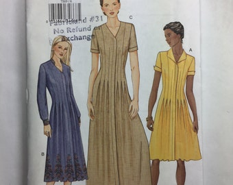 Vogue 7569 Misses' Pleated Flared Dress Pattern  sizes 6,8,10 uncut Dated 2002