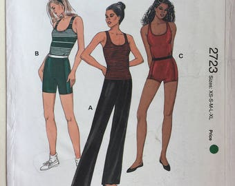 Kwik Sew Pattern 2723 Misses' Exercise Pants, Tops & Shorts Sizes XS,S,M,L,XL Dated 1998
