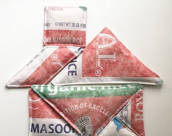 Tangram Rice Bags, Red, Green and White