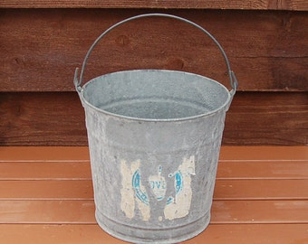Galvanized Bucket, Vintage No 12 Farm Pail, Dover Bucket, Galzanized Planter