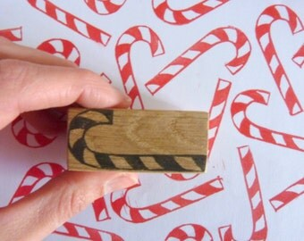 Candy cane stamp, barley sugar, christmas, hand carved, wood, recycled, scrapbooking