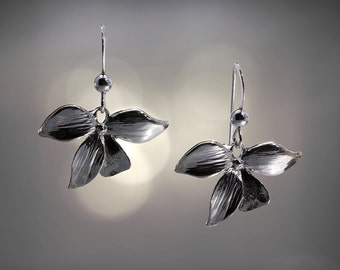Sterling Silver Multi Leaf Minimalist Dangle Charm Earrings