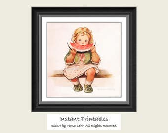 Vintage Girl Wall Decor INSTANT DOWNLOAD Art Printable Old Picture Digital Jessie Willcox Smith
