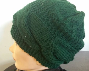 Green Hand Knit Cable Hat Wool And Acrylic