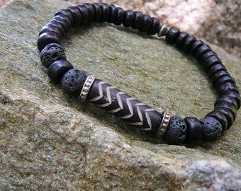 Tribal Surfer Bracelet, Men's Bracelet, Beach Bracelet, Bracelet For Men, Surfing Jewelry, Men's Surf Bracelet, Black Lava, Coconut Beaded
