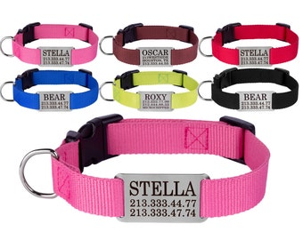 Personalized Dog Collar Engraved Nameplate S M L Pink Red Blue Lime Brown Black