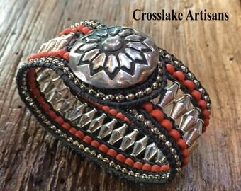 Beaded Cuff bracelet, beaded wrap bracelet, boho bracelet, Coral and silver cuff bracelet with Southwestern silver button