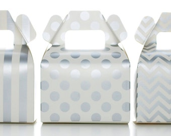 Candy Boxes, Silver Wedding Favors (36 Pack) - Stripe, Chevron, Polka Dot Gable Boxes for Birthday Party Supplies & Candy Buffet Decorations