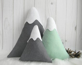 Mountain Nursery Decor  Mountain Pillows Mountain Softies Mountain Cushion Grey mint home Decor Neutral Gender Nursery