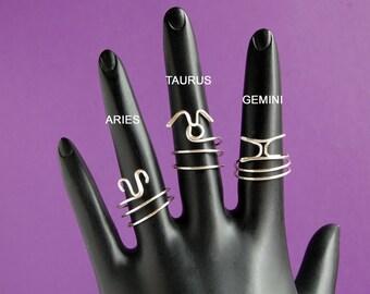 Zodiac Midi Ring, Wire Wrapped Zodiac Midi Ring, Zodiac Wire Wrapped Ring, Wire Wrapped Astrology Ring, Wire Wrapped Midi Ring, Zodiac Ring