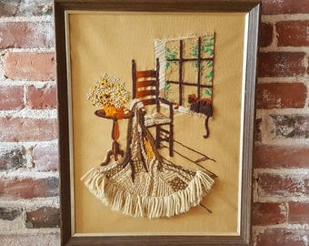 Vintage '70s Crewel Embroidery, Blanket, Chair, Cat, Brown & Tan, Framed Wall Hanging