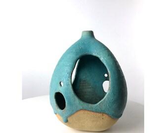 Mid Century Modern Studio Art Pottery Lantern Vase Turquoise & Stoneware