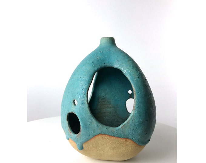 Featured listing image: Mid Century Modern Studio Art Pottery Lantern Vase Turquoise & Stoneware