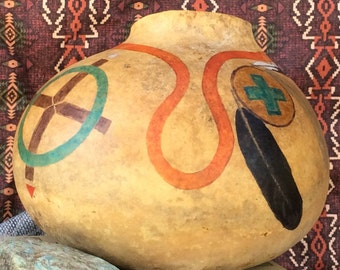 Red road decorative gourd, painted gourd, southwestern gourd