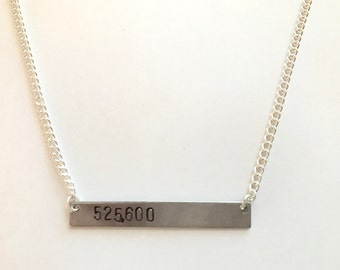 "Rent Broadway Musical Inspired Hand-Stamped Necklace - ""525,600"""